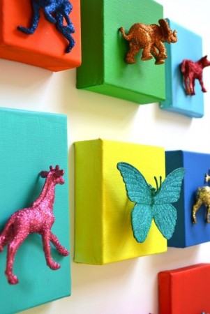 Wall art using old toys