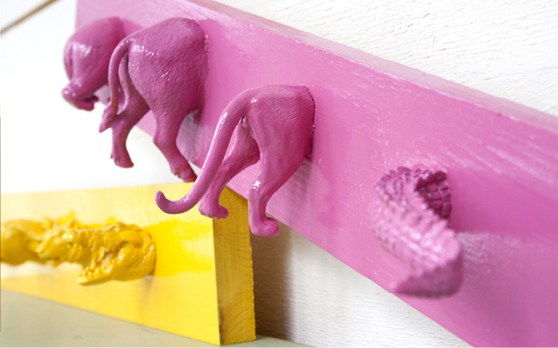 Wall hooks using old toys