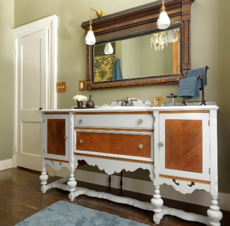 A beautiful buffet is transformed into a unique bathroom vanity
