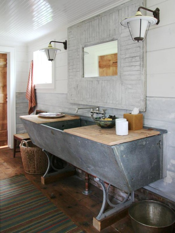 An old trough becomes a one-of-a-kind bathroom vanity