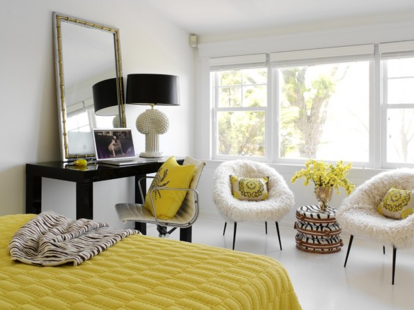 Pops of yellow give this bedroom fresh style