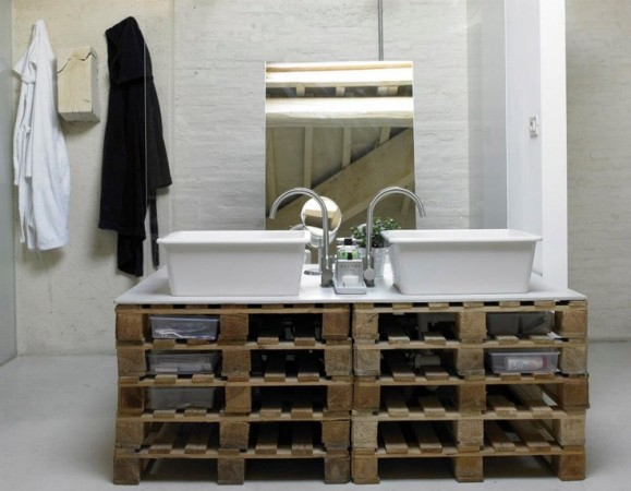 Pallets repurposed into a unique bathroom vanity