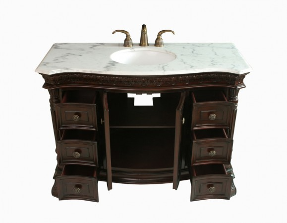 Vintage furniture transformed into a bathroom vanity