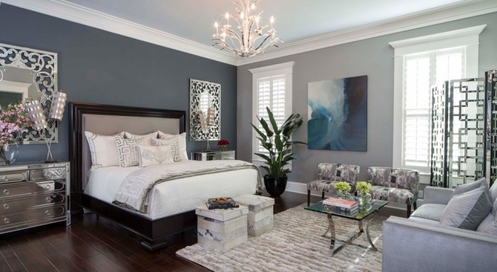Serene colors give this bedroom a relaxing vibe