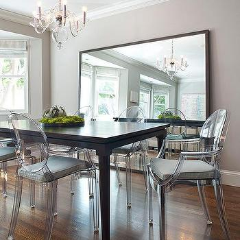 Large mirror and ghost chairs in dining room (decorpad)