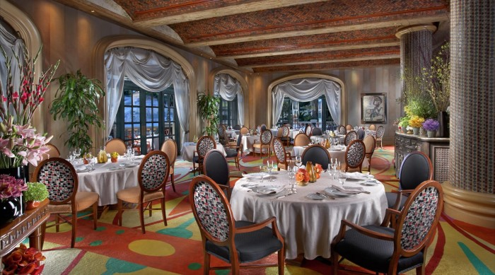The beautiful Bellagio Hotel dining room
