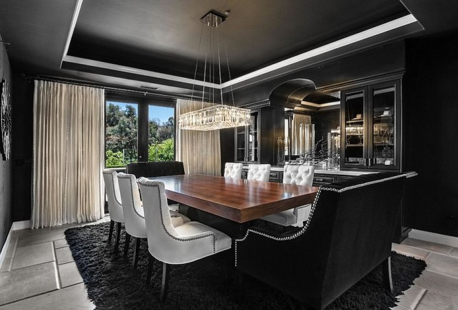 Beautiful black and gold dining room
