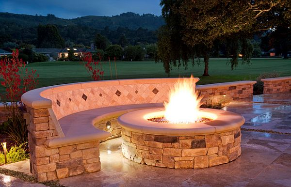 Stone work fire pit