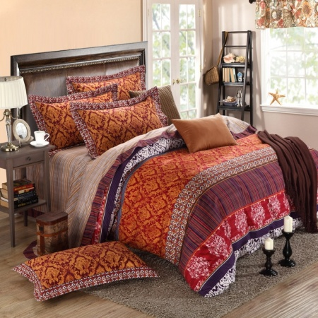 Gold Brown and Garnet Red Print Moroccan Themed (enjoybedding)