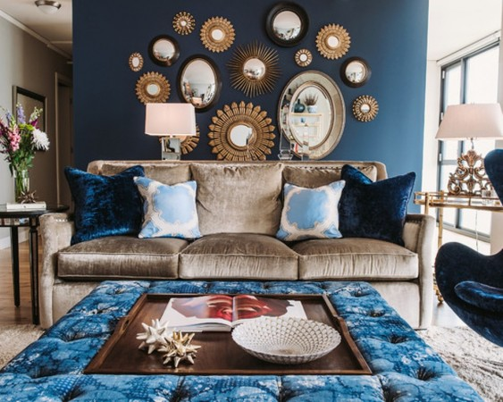 Lush velvet and metallic give this room glamour
