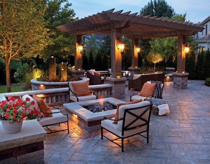 Inviting backyard with fire pit