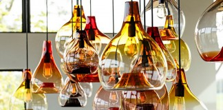 Beautiful amber glass pendant lights
