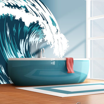 Wave mural in bathroom