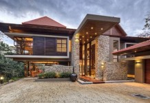 Wood and stone modern home