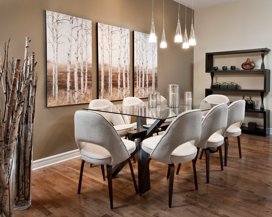 Tree Paintings And Branches Accent This Dining Room topessayrankings