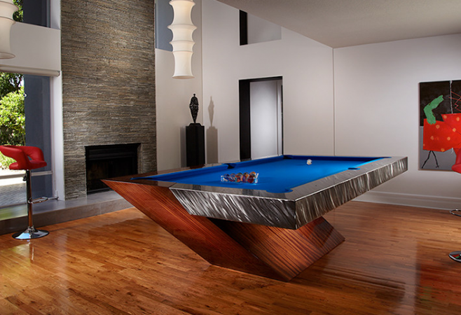 Modern billiards table takes center stage in this game room