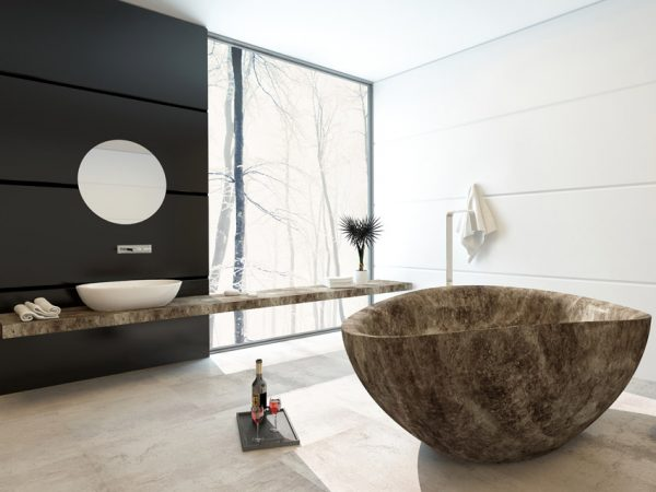 Modern bath with view