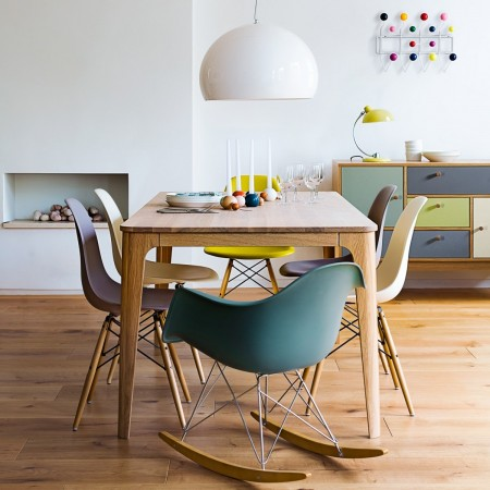 Modern rocking chair at dining table