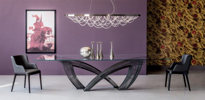 Sculptural table and light fixture