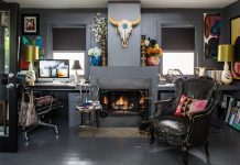 Eclectic and colorful home office