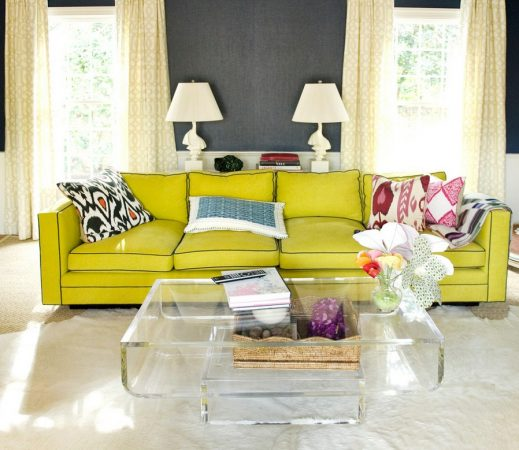 Lucite or acrylic furniture lightens the visual weight of a room