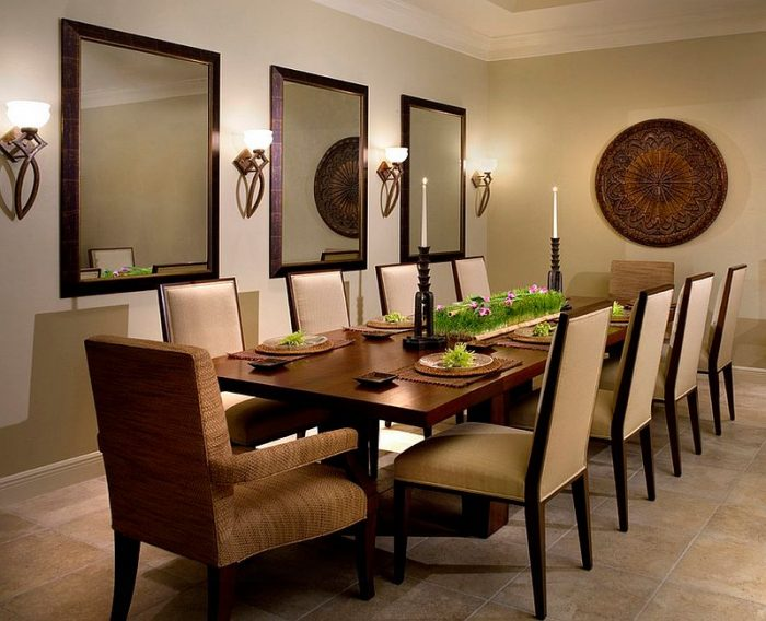 Wall sconces highlight this dining room