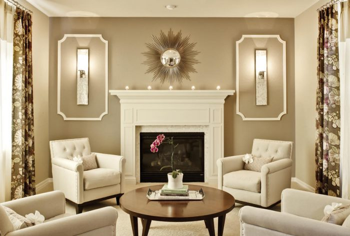 Sconces create a symmetrical accent in this room