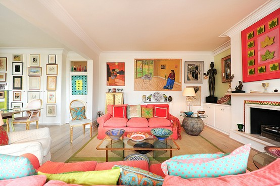Bright colors enhance this living space