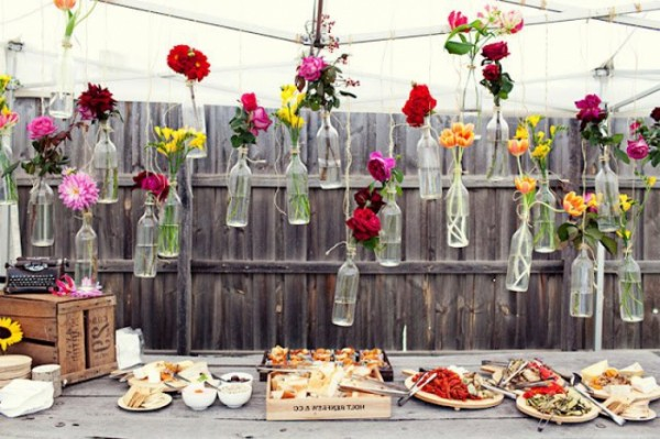 Recycled Wedding Decor with bottles and flowers