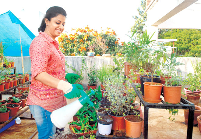 Mother at home being a home gardener