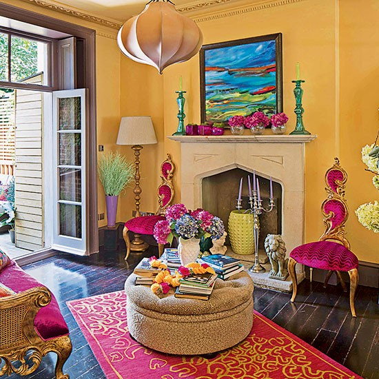 Bold color ignites this living space