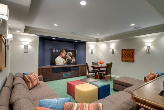 Sconce lighting is a great functional style enhancement for the media room