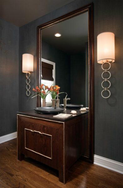 Classic sconce lighting in the bathroom