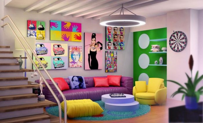 Pop art complements this colorful room