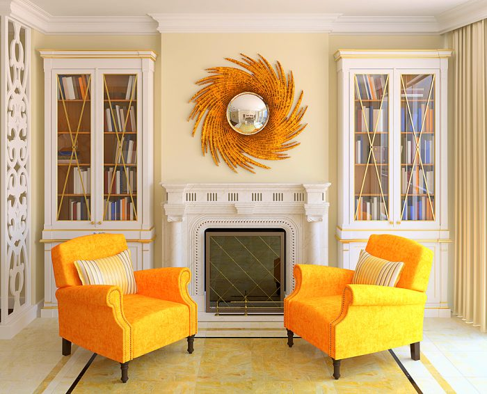 Bright yellow chairs bring bold color to this room