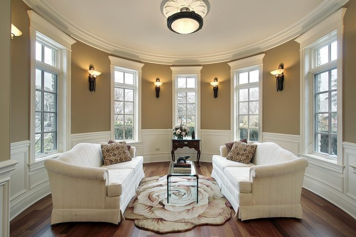 Sconces add accent lighting to this room