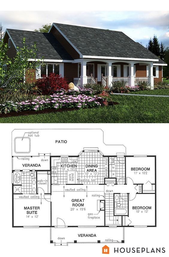 25 impressive small house plans for affordable home for Single roof line house plans