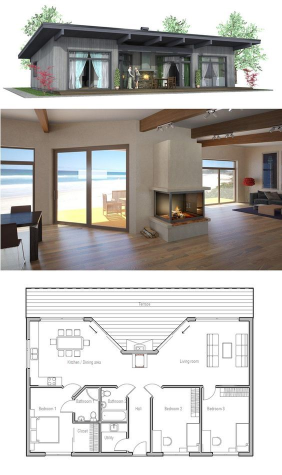 25 impressive small house plans for affordable home for Tiny beach house plans
