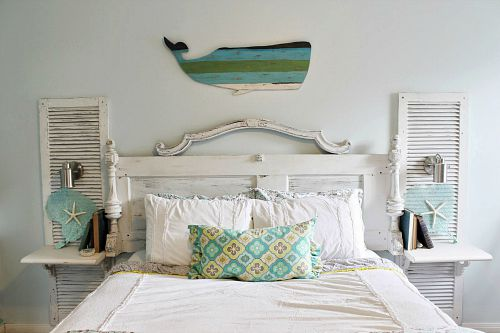 Headboard upcycled from an old door and shutters