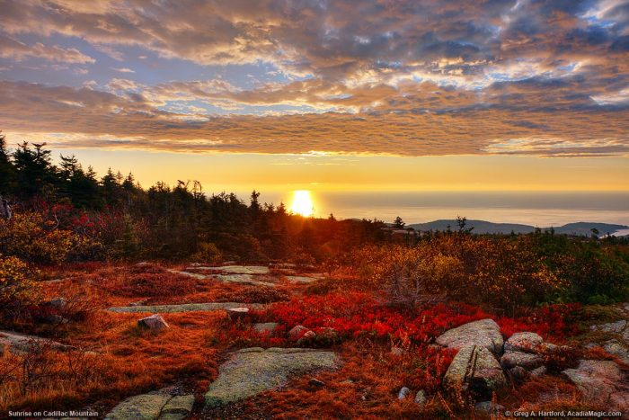 Sunrise at Cadillac Mountain, Mount Desert Island, Maine http://www.acadiamagic.com