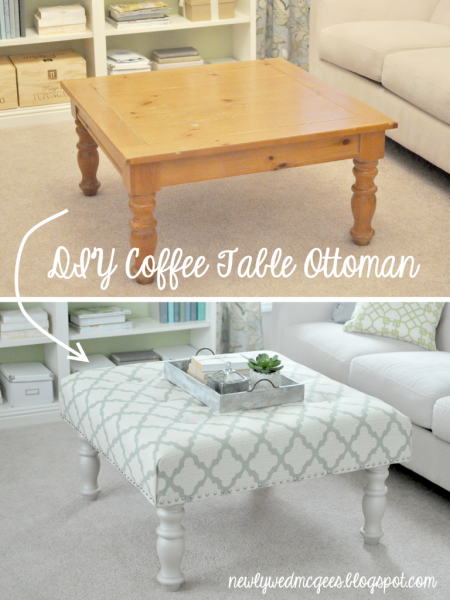 Old coffee table upcycled into an ottoman http://www.giddyupcycled.com