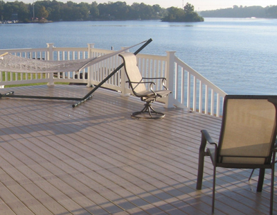 Relax and enjoy the view from a khaki deck by the lake http://www.chesterfielddecks.com