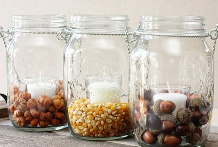 Mason jars filled with fall treats engage your guests. http://www.countryliving.com