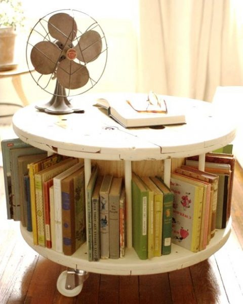 Upcycled Furniture from old wire spool. http://www.naturalbuildingblog.com