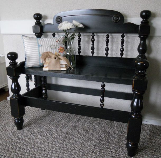 Bench upcycled from old headboard http://www.toolgirl.com