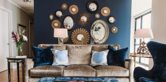 denim blue living room