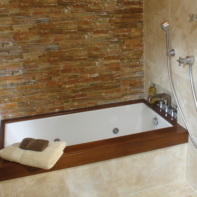 Wood Trim Adds A Custom Feel To This Soaking Tub