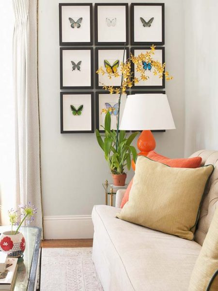Framed butterfly prints add a fresh charm