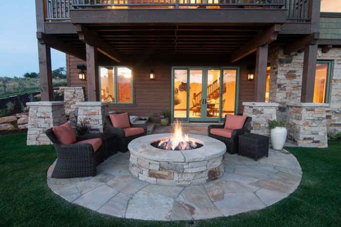 Stone fire pit lends charm.