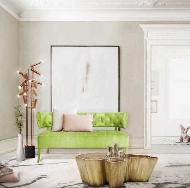 A charming sofa adds a touch of fresh color to a neutral palette